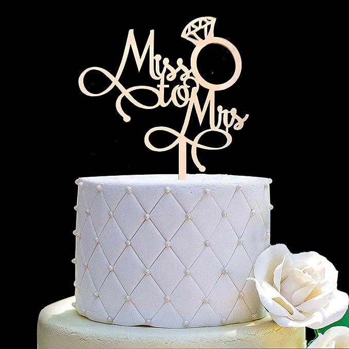 Gold Glitter Wedding Bridal Shower Engagement Bachelorette Party Decorations Supplies Mr /& Mrs Cake Topper