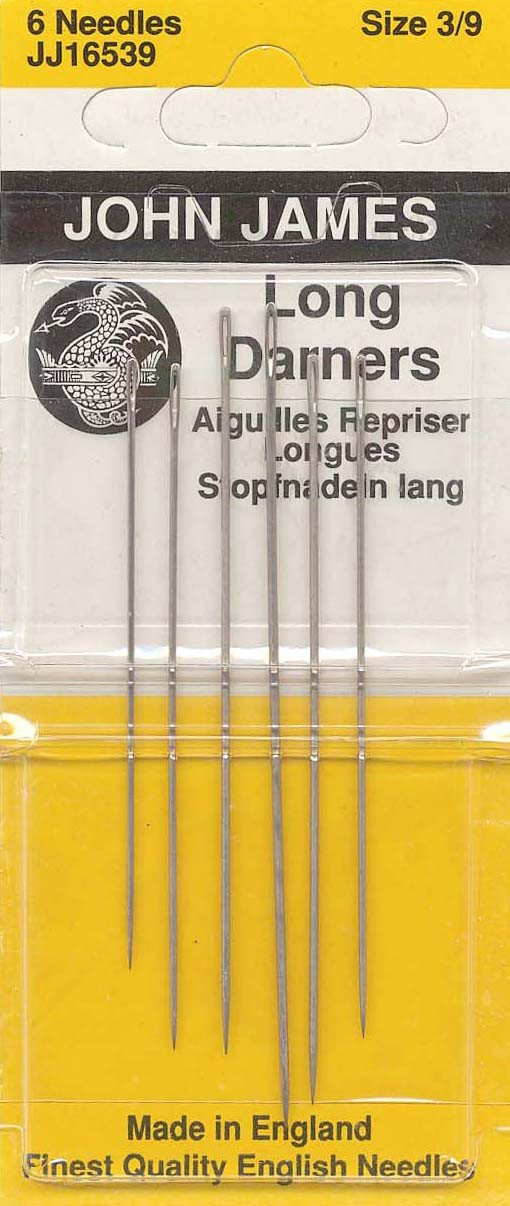 Colonial Needle 6 Count John James Long Darners Assorted Needles, Size 3/9 Colonial Needle Co JJ165-3-9