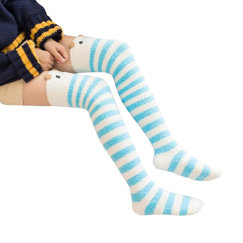 CCSDR Womens Warm Socks,Cartoon Stripe Over Knee Boot Thigh-High Leggings Lolita
