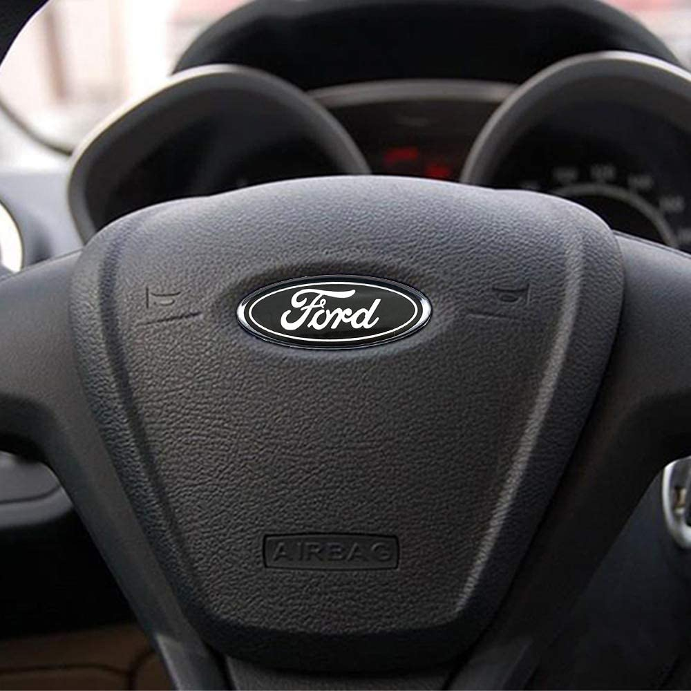 2 PCS Steering Wheel Logo Emblem Badge Overlay Decal Sticker For Ford F-150 F-250 F350 0.875in x 2.25in