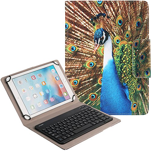 Keyboard Case for Tablet, Peacock,DICHEER 2-in-1 Wireless Detachable Removable Keyboard Leather Case for iPad,Android,Windows Tablet (9-10 inch) + Card Slots and Kickstand (12) ()