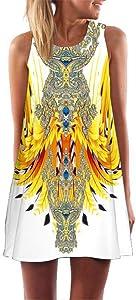 Women Summer Dresses Boho Print Tank Dresses O-neck Sleeveless Mini Dress for Girls Party Beach Vacation