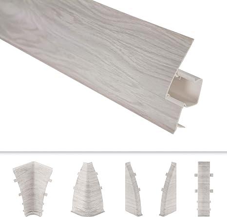 integrierter Kabelkanal Kunststoff Fu/ßleisten PVC Moderne Laminatleisten riesige Auswahl 2 Meter 65x23mm SL.087A Sockelleisten und Zubeh/ör