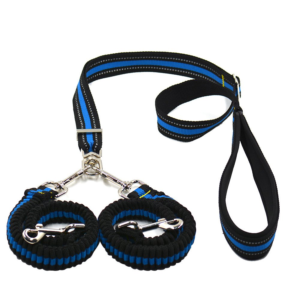 (bluee) YamaziHD Double Dog Leash, 360 Degree Swivel No Tangle Double Dog Leash Coupler & Shock Absorbing Bungee Lead with Padded Handle Reflective Leash for Two Small Medium Large Dogs