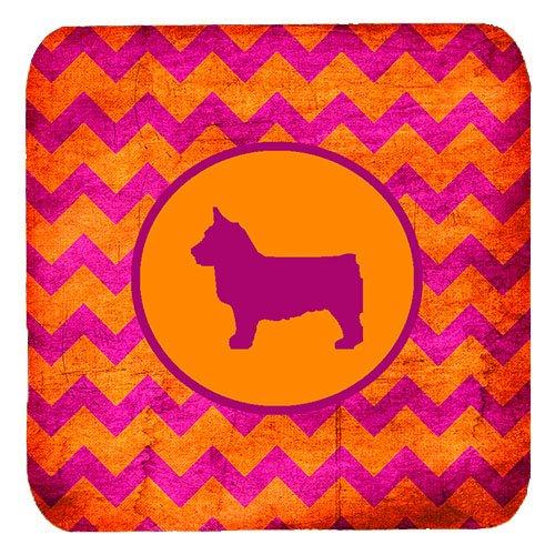Multicolor Set of 4 Carolines Treasures SDK1151-B-FC Swedish Vallhund Chevron Pink and Orange Foam Coasters 3.5 H x 3.5 W