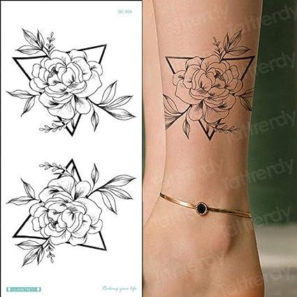 Handaxian 3pcs Temporaire Autocollant De Tatouage Fleur Pivoine Rose Croquis Dessin Fille De Tatouage Modele De Tatouage Bras De La Jambe 3pcs 15 Amazon Fr Cuisine Maison