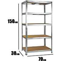 Nitaar Étagères de Rangement 5 Niveaux sans Boulon pour Garage ou abri de Jardin 150 cm x 70 cm x 30 cm