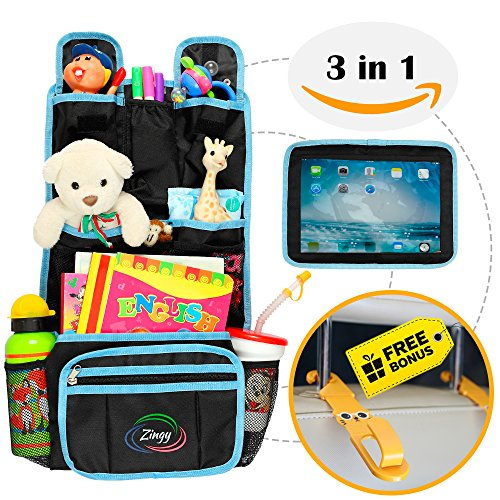 Backseat Organizer for Kids 3 in 1, Car Organizer with Hooks