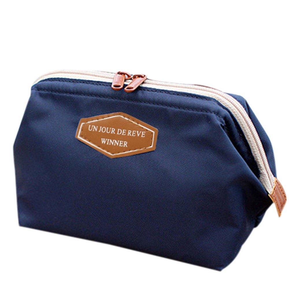 Colorido Travel Portable Nylon Makeup Pouch Cosmetic Bag Toiletry Case Storage Holder size Medium (Deep Blue)