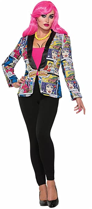 1950s Costumes- Poodle Skirts, Grease, Monroe, Pin Up, I Love Lucy Womens Adult Pop Art Blazer Costume Jacket Comic Book Cartoon Characters Std $36.99 AT vintagedancer.com