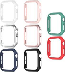 8 Pack Matte Case Compatible with Apple Watch 38mm Series 3/ 2/ 1, Fvlerz Hard PC Bumper Frame[No Screen Protector] Shockproof Cover All-Around Protective iWatch Accessories
