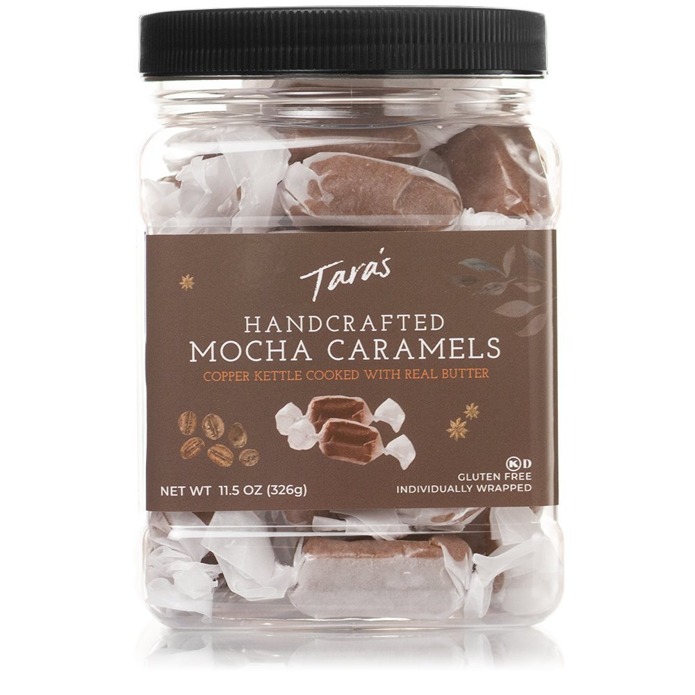 Tara's All Natural Handcrafted Gourmet Mocha Caramel: Small Batch, Kettle Cooked, Creamy & Individually Wrapped - 11.5 Ounce