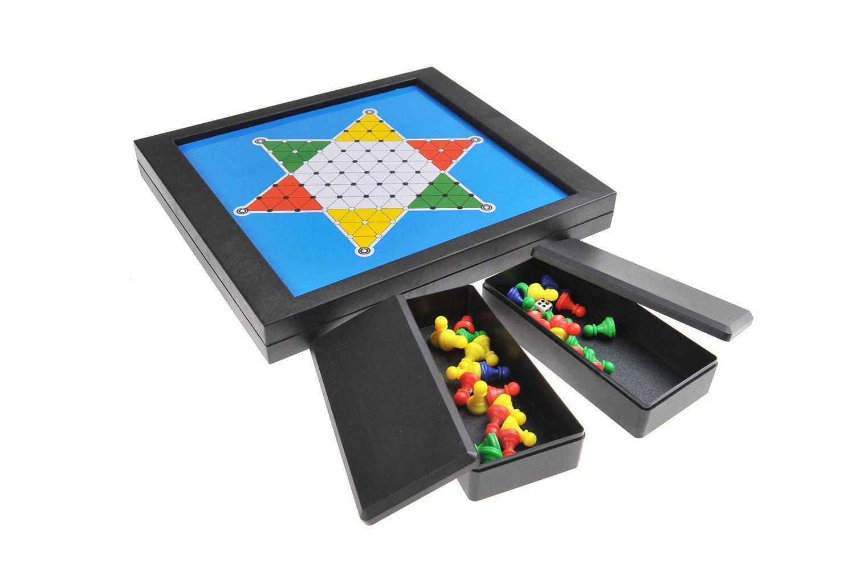 Magnetisches Brettspiel 2-in-1 (Standard Größe): Ludo & Sternenhalma - magnetische Spielsteine, Spielbrett zusammenklappbar, 23cm x 20,5cm x 2,7cm, Mod. SC6702 (DE)