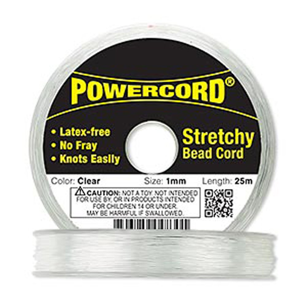 Powercord? Elastic Clear 1mm Diameter 14-pound Test. Sold Per 25-meter Spool.