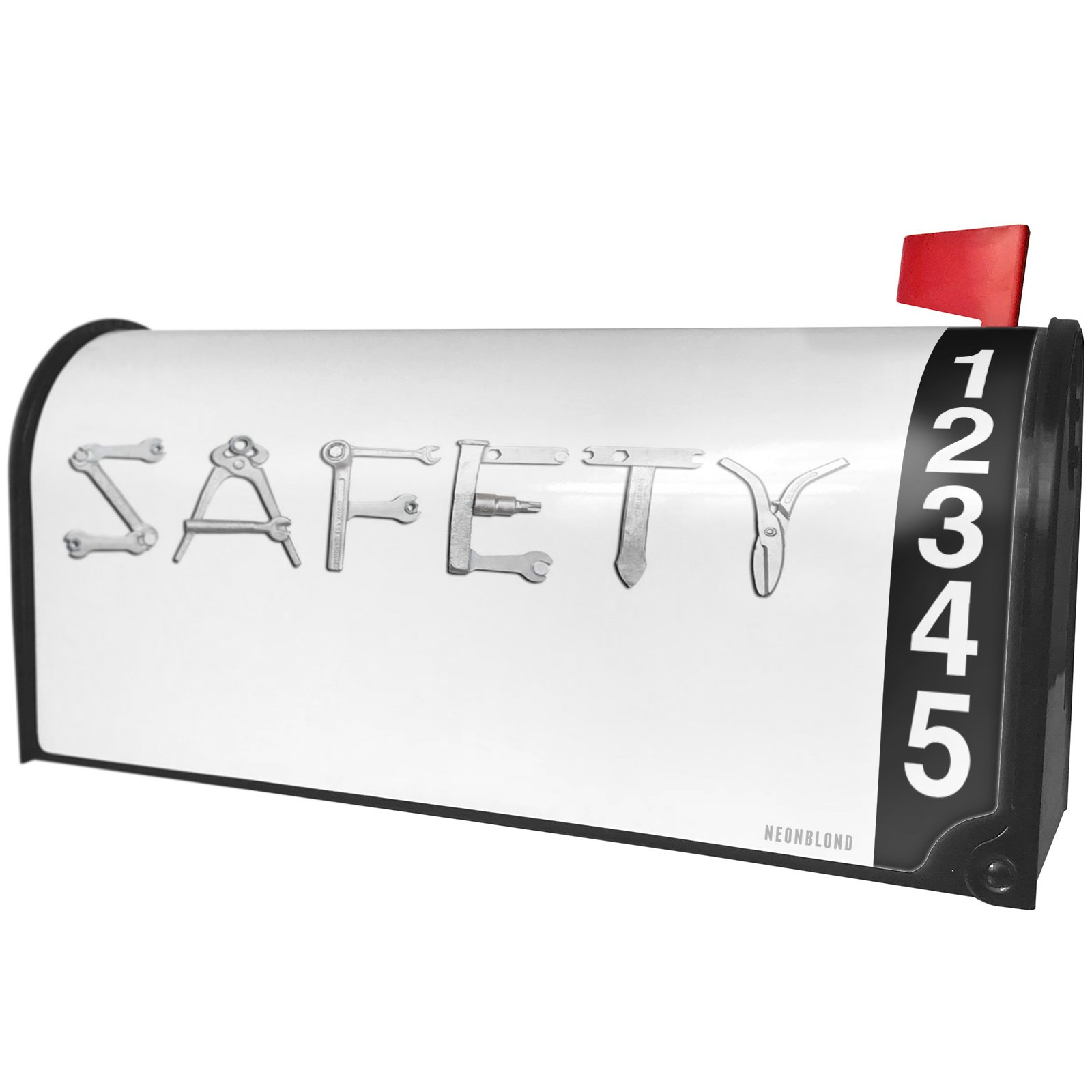 NEONBLOND Safety Tools Metal Looking Magnetic Mailbox Cover Custom Numbers