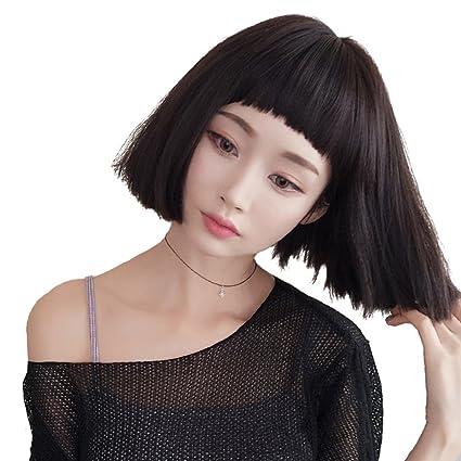 Peluca chica pelo corto y esponjoso flequillo redondo seta cabeza peluca de pelo corto y recto