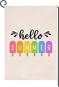 BLKWHT Hello Summer Popsicles Garden Flag Vertical Double Sided Yellow Blue Ice Cream Burlap Yard Outdoor Decor 12.5 x 18 Inches A2136