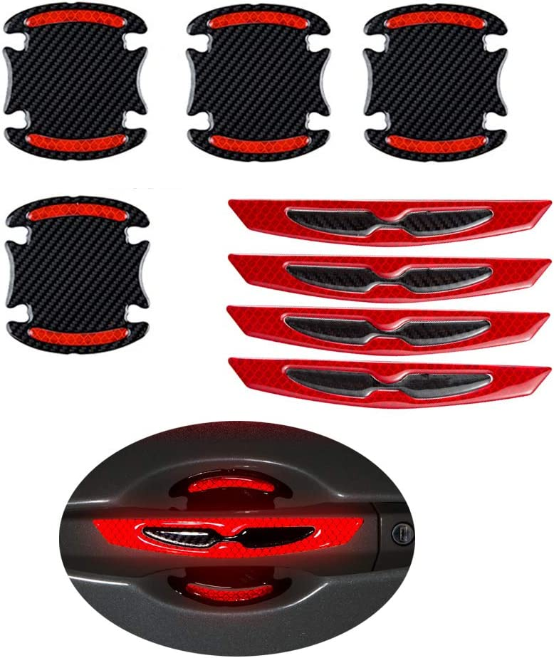 8 Pcs Carbon Fiber Style Car Door Handle Protective Film Stickers 3C