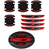 LLJ 8pcs Universal 3D Carbon Fiber Car Door Handle Paint Scratch Protector Sticker Auto Door Handle Scratch Cover Guard Protective Film Car Outdoor Safety Reflective Strips (Red)