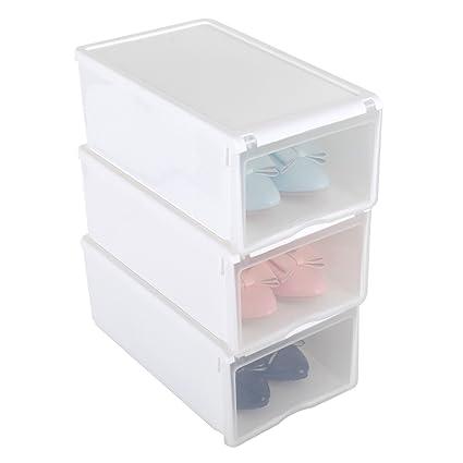 3X Cajas de Zapatos Apilable Plástico Transparente, 33 x 22 x 14cm Blanco