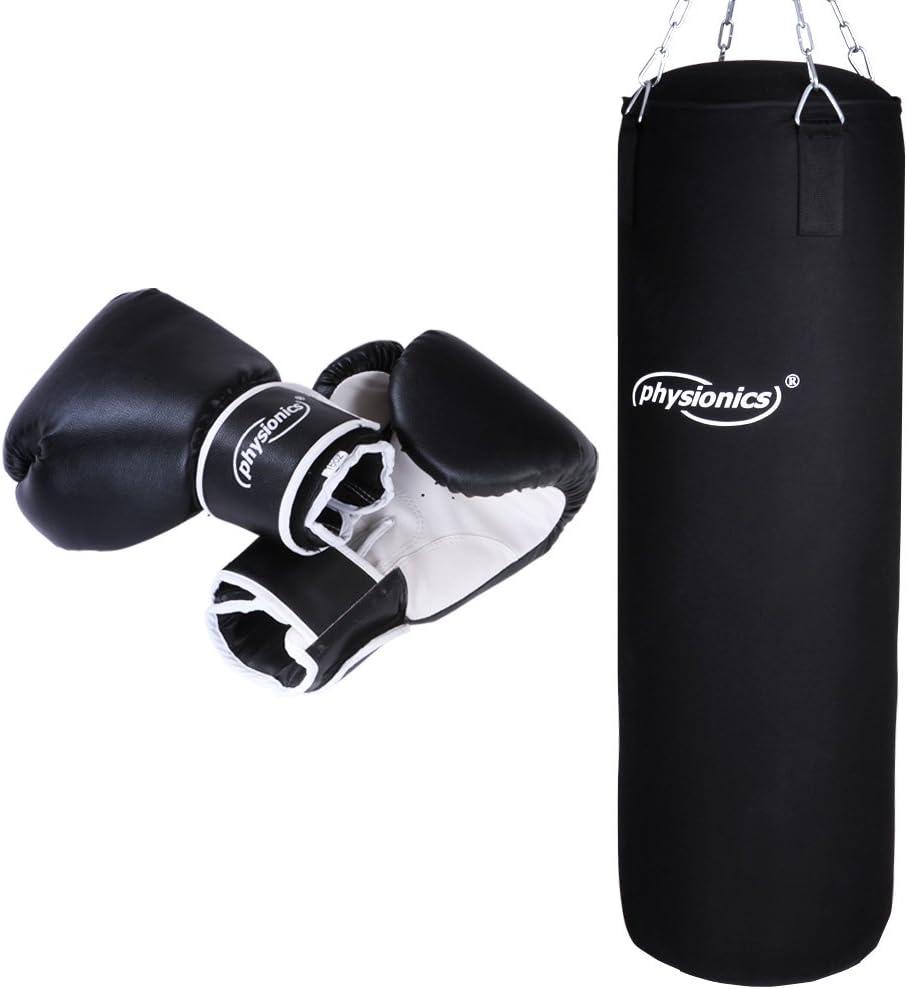 Physionics® Juego de Boxeo con Saco de Boxeo Relleno 19kg, 30/80cm, Guantes de Boxeo Tamaño a Elegir 10, 12, 14, 16 Oz | Equipo de Boxeo | MMA, Muay ...