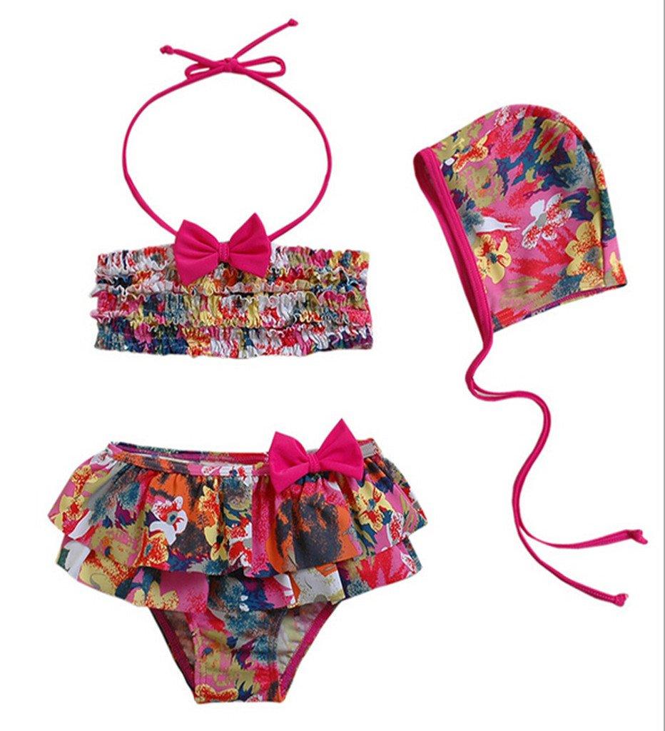 Remeehi Kid Girl's Two-piece Swimwear and Cap Bikini Baby Swimsuits Flower 8-9T