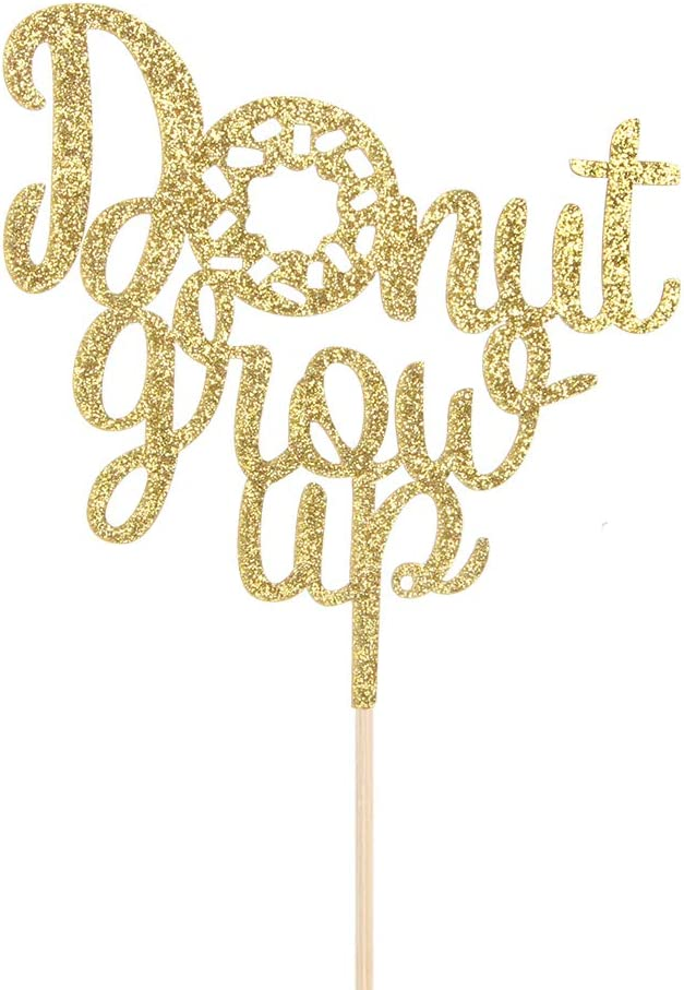Donut Theme Party Decorations Gold Glitter Donut Grow Up Cake Topper Babys Birthday Decorations Baby Shower // 1st Birthday Decorations