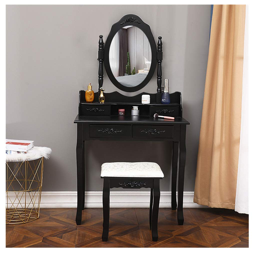 Make Up Table and Stool Set, Midress Vanity Table Set with Oval Mirror & Cushioned Stool Makeup Dressing Table 4 Drawers (Black) by Midress