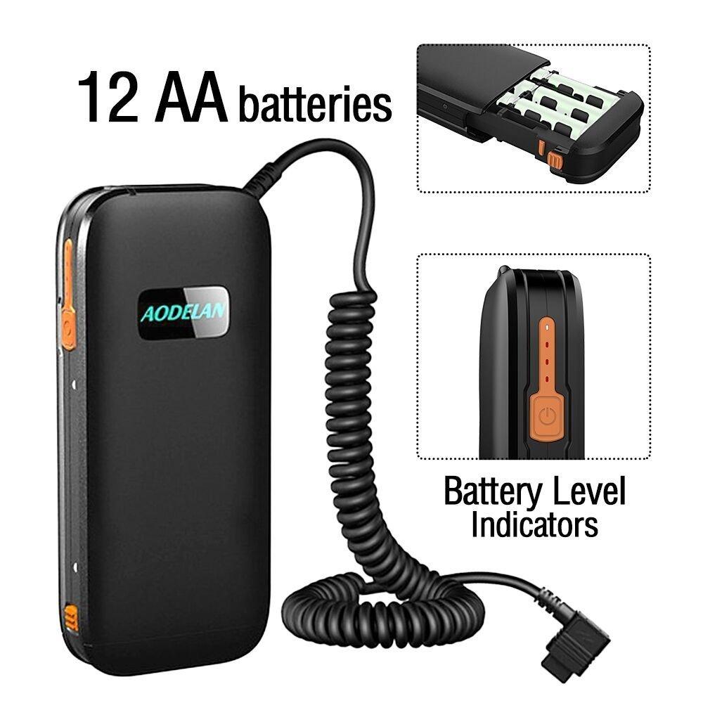 Replaces Nikon SD-9 Hot Shoe Speedlite Battery Power Bank SB910 SB5000 Lightweight Portable 12 AA Battery Pack Case for Nikon SB900 AODELAN External Flash Battery Packs