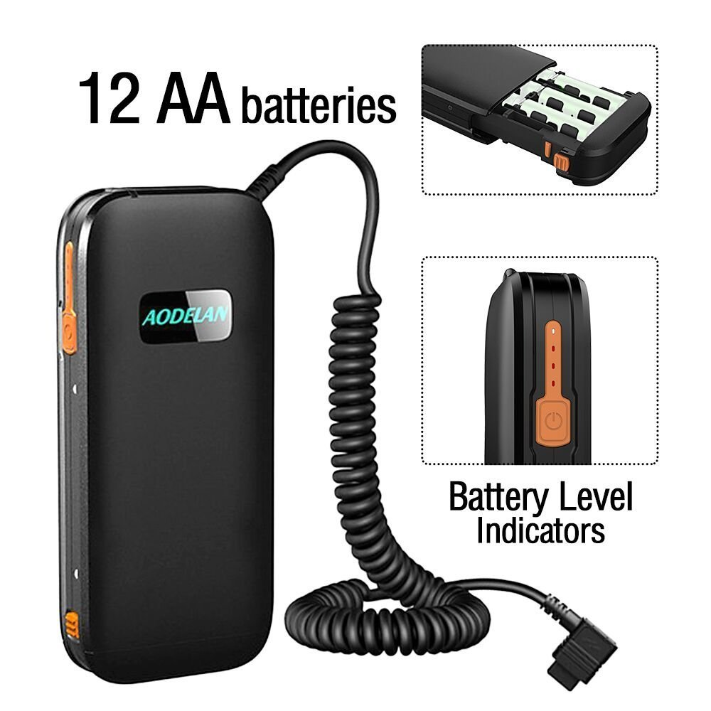 AODELAN External Flash Battery Pack Speedlite Battery Power Bank for Canon 600EX II-RT, 600EX-RT, 600EX, 580EXII, 580EX, 550EX. Replaces Canon CP-E4N, CP-E4