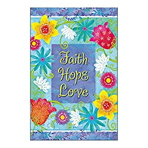 Amazoncom Religious Garden Flag Faith Hope Love From Christian