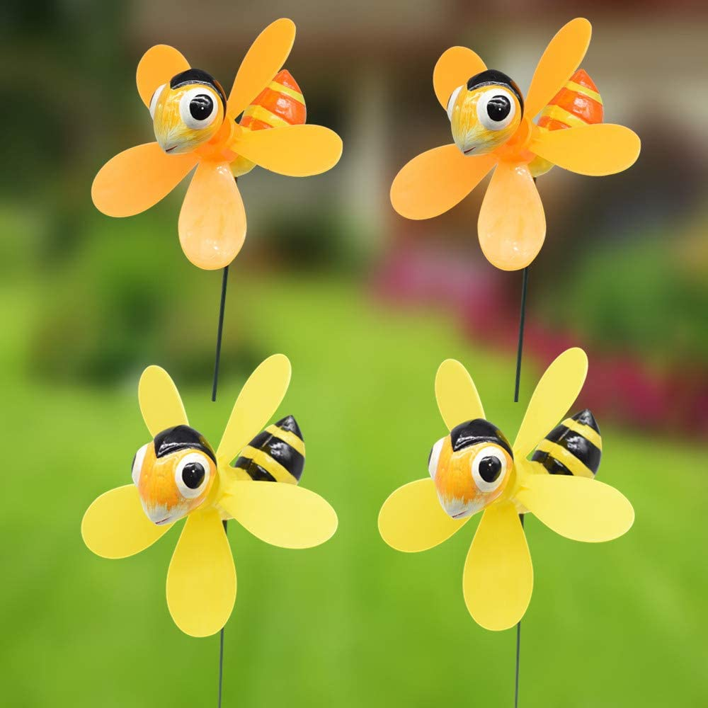 FENELY Bee Garden Wind Spinners Pinwheels Whirlygigs Stakes Decorations Outdoor Lawn Decorative Yard Decor Patio Accessories Windmills