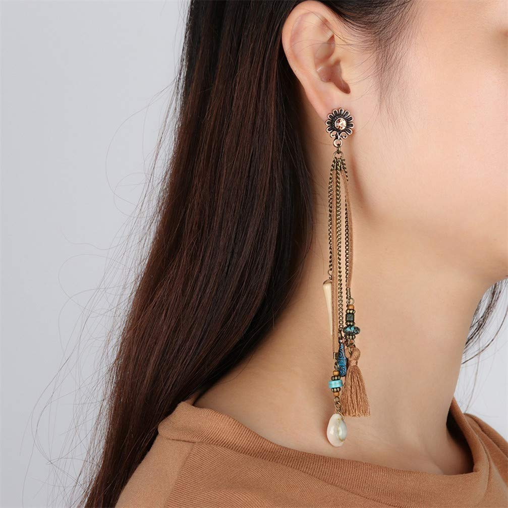 Myhouse Vintage Alloy Tassel Long Dangle Faux Pearl Charm Earrings by Myhouse (Image #3)