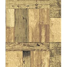 Blooming Wall 8W106 Faux Vintage Wood Panel Barnwood Wallpaper Wood Wall Paper Wall Mural,57 Sq Ft/Roll