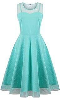 131e56e30d42d1 KILOLONE Damen Plus Size Kleid 1950er Cocktailkleid Jahrgang Kleider  Spitzenkleid Langarm Knielang Rockabilly Kleid S-