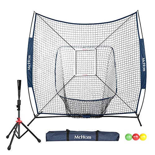 McHom 7' x 7' Baseball & Softball Net Set with Travel Tee, 3 Weighted Balls, Strike Zone & Carry Bag for Hitting & Pitching Practice, Collapsible and Portable