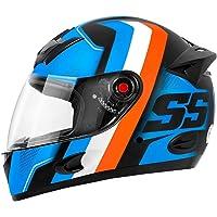 Capacete Moto Mixs MX5 Super Speed Azul com laranja Brilhante 56