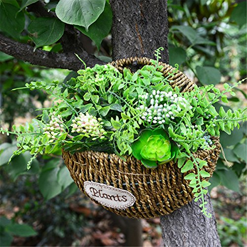 Kingbuy straw and willow basket wicker flower pots flower wall hanging flowerpot hanging basket Rustic Rattan Half Hive Hanging Wall Basket (L)
