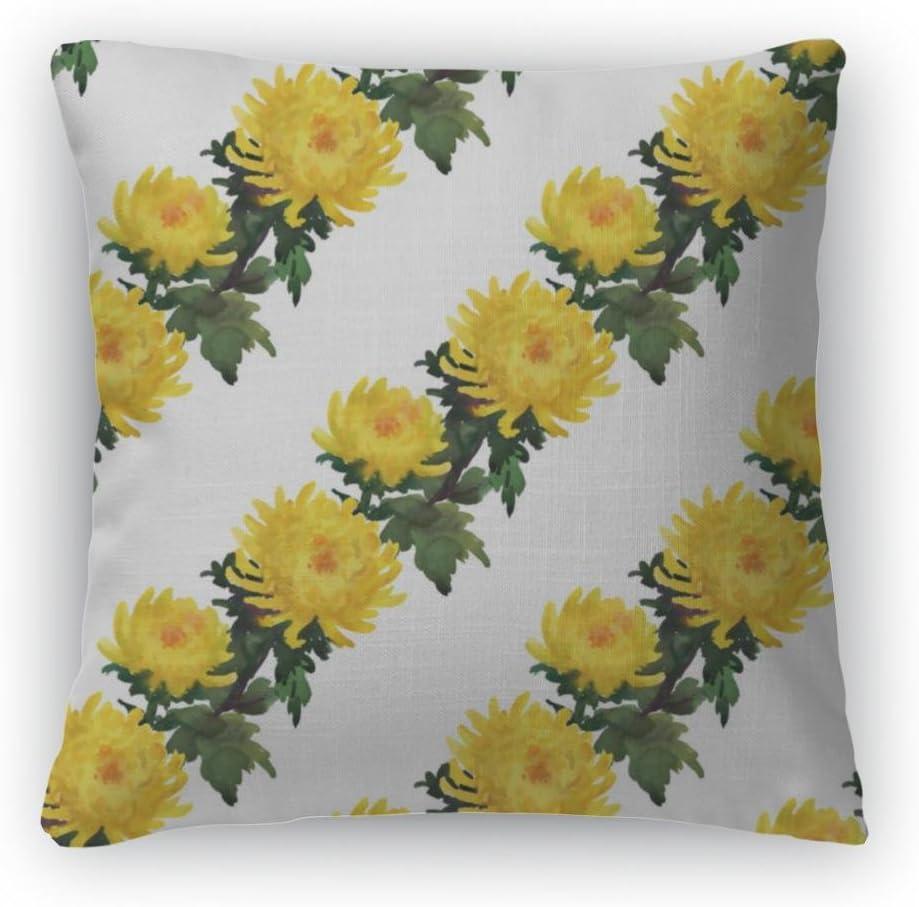 Gear New Throw Pillow, 26×26, Yellow Chrysanthemum Flowers Pattern