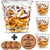 Image of Diamond Whiskey Glasses - Set of 4 - by Vaci + 4 Drink Coasters, Ultra Clarity Crystal Scotch Glass, Malt or Bourbon, Glassware Gift Set