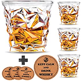 Diamond Whiskey Glasses – Set of 4 – by Vaci + 4 Drink Coasters, Ultra Clarity Crystal S