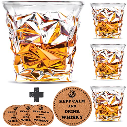 Diamond Whiskey Glasses   Set Of 4   By Vaci   4 Drink Coasters  Ultra Clarity Crystal Scotch Glass  Malt Or Bourbon  Glassware Gift Set