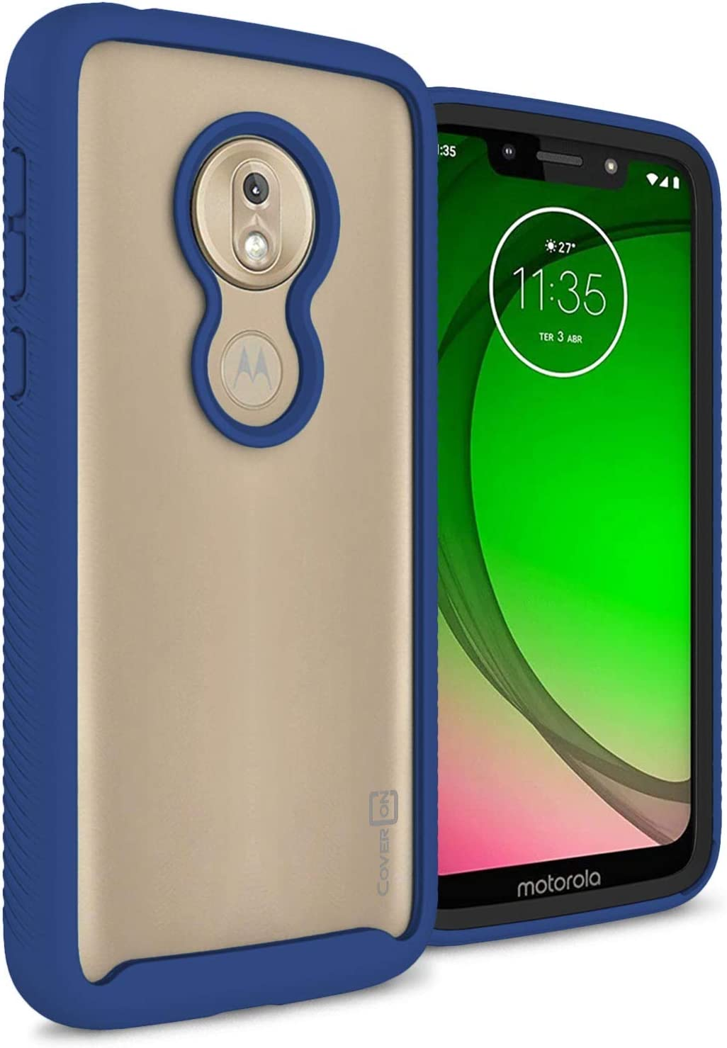 CoverON Heavy Duty Full Body EOS Series for Motorola Moto G7 Play Case (2019), Clear Back Navy Blue Trim