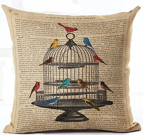 Cotton Linen Retro Book Page Illustration Black Sketch Birdcage And Colorful Birds Pillow Covers Cushion Cover Decorative Sofa Bedroom Square 18 inches