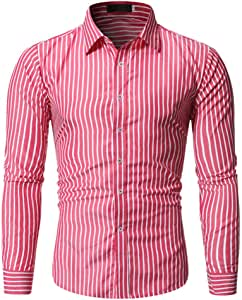 jfhrfged Camisa Casual de Manga Larga Estampada para Hombre Stretch Soft Slim Fit Tops Shirt S-2XL: Amazon.es: Deportes y aire libre