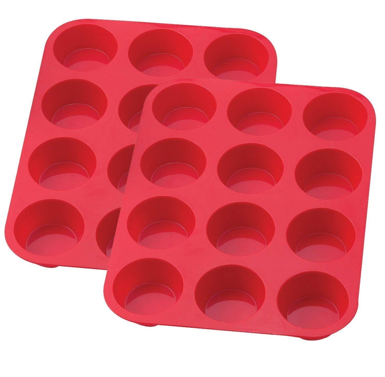 Wolecok 6 Cup Silicone Muffin Cupcake Baking Pan Set of 2 Blue