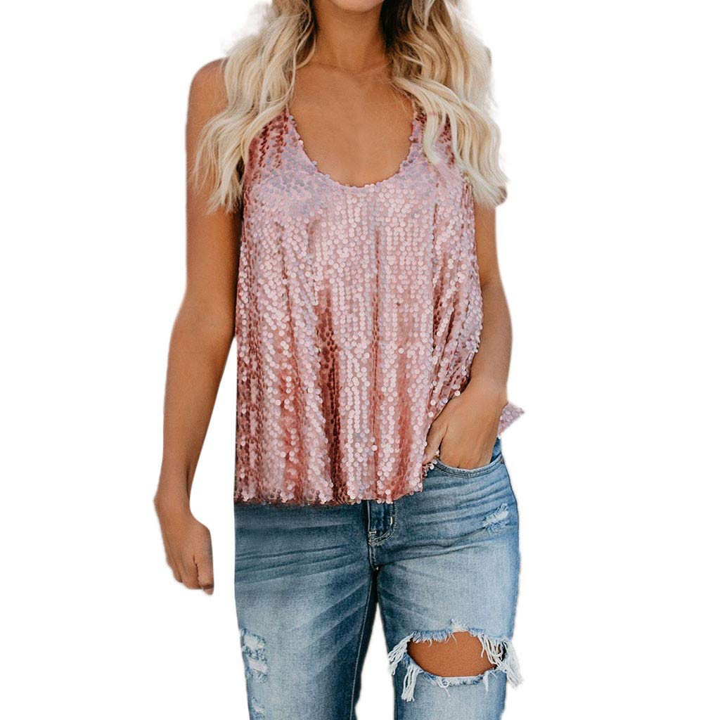 Women's Disco Sequin Sleeveless Loose Tank Tops Blouse Vest Pink