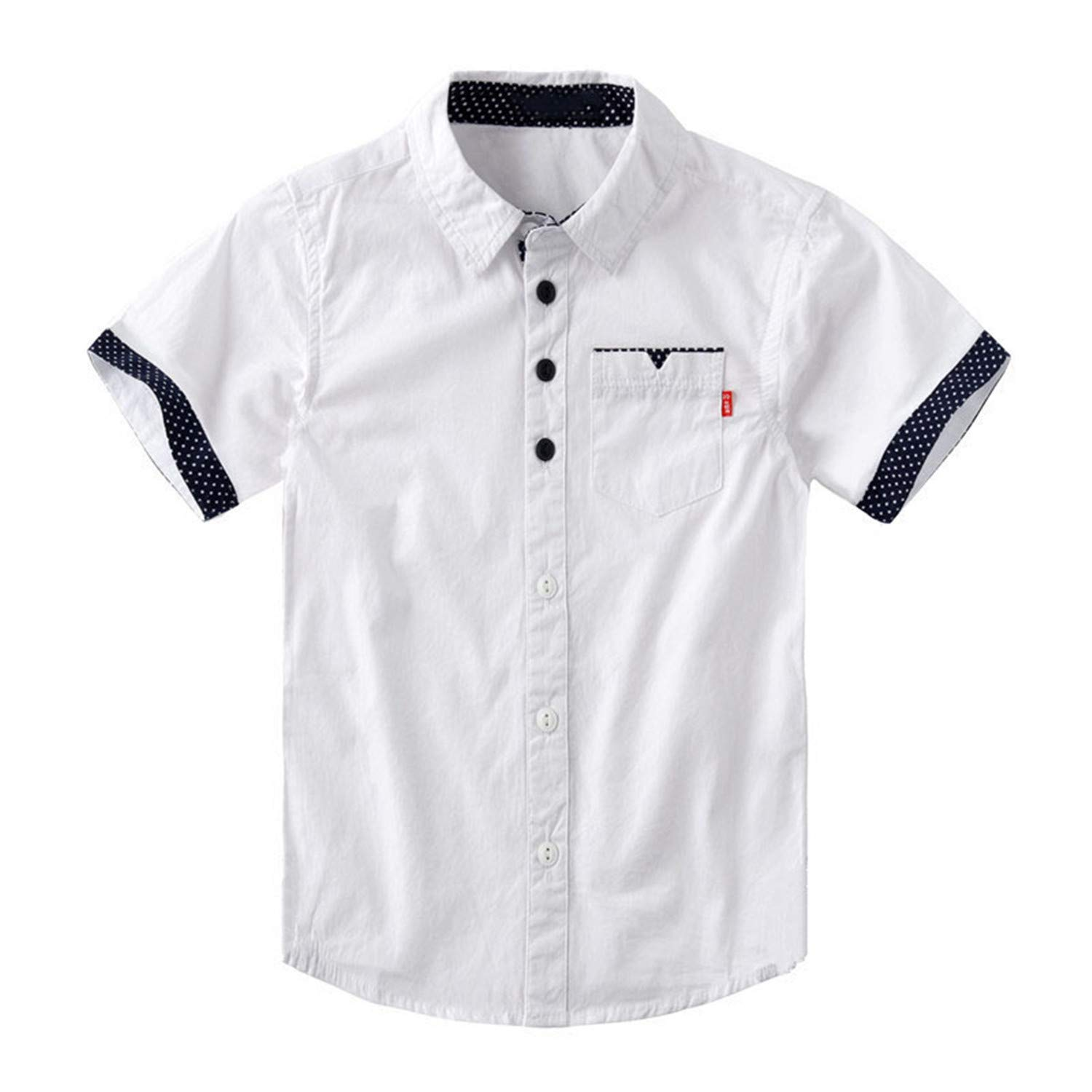 Aancy-Children School Shirts Casual Solid Cotton Short-Sleeved Boys Shirts for 4-12 Years Students Wear
