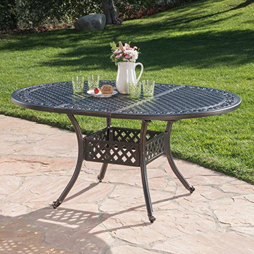Great Deal Furniture Stone Island Outdoor Shiny Copper Finished Expandable Aluminum Dining Table -