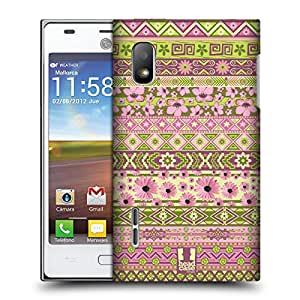 Head Case Designs Green and Pink Floral Aztec Protective Snap-on Hard Back Case Cover for LG Optimus L5 E610